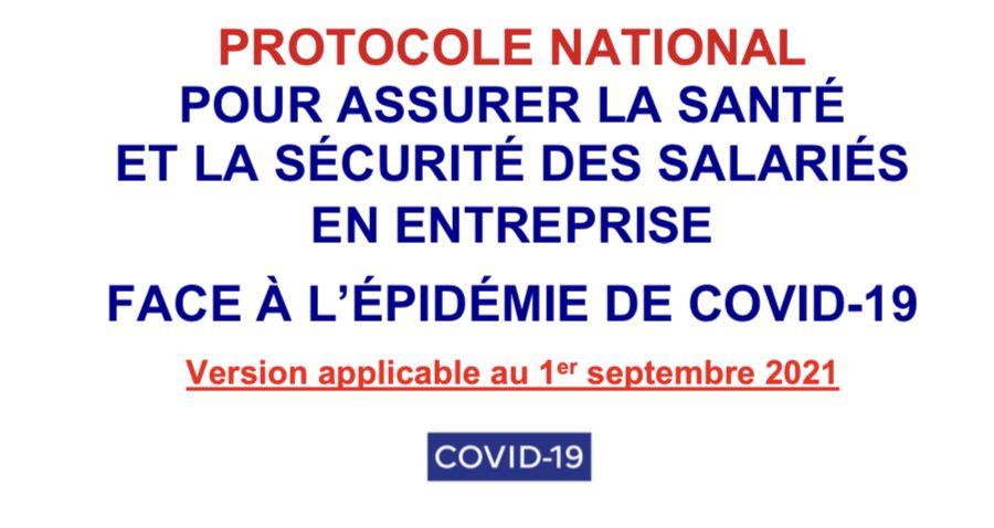 Protocole National:  Version applicable au 1er septembre 2021